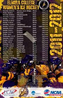 Game schedule poster for Elmira Women's Hockey 2011-2012 season