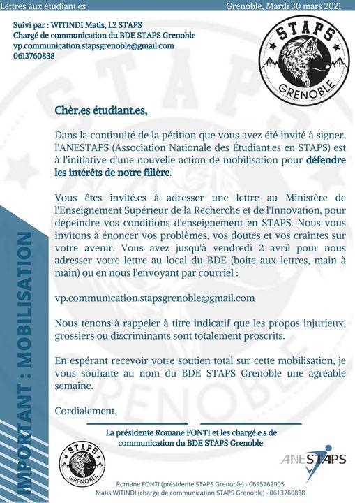 You are currently viewing Mobilisation de la filière STAPS