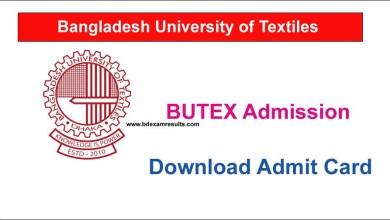 BUTEX Admit Card Download