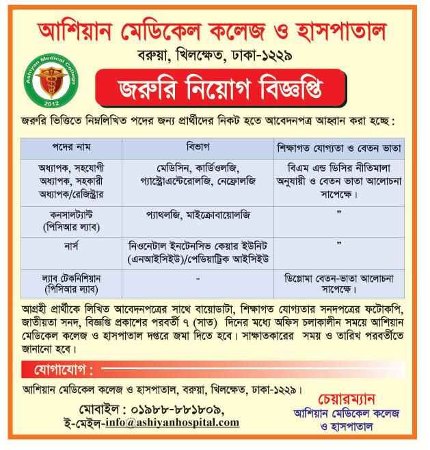 Ashiyan Medical College Hospital Job Circular 2021