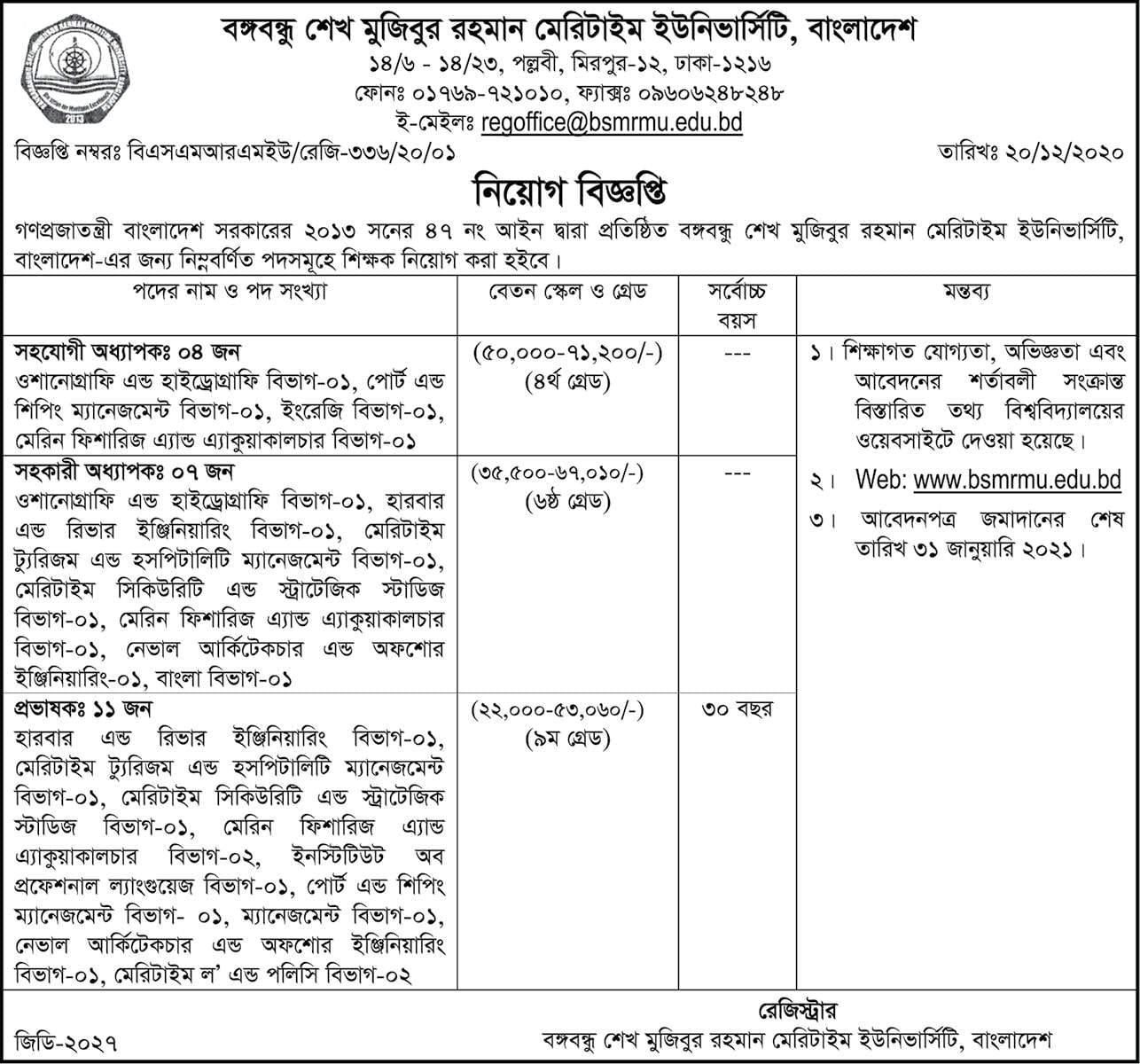 Bangabandhu Sheikh Mujibur Rahman Maritime University Job Circular