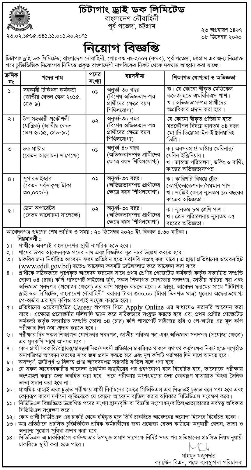 Chittagong Dry Dock Limited CDDL Job Circular 2020