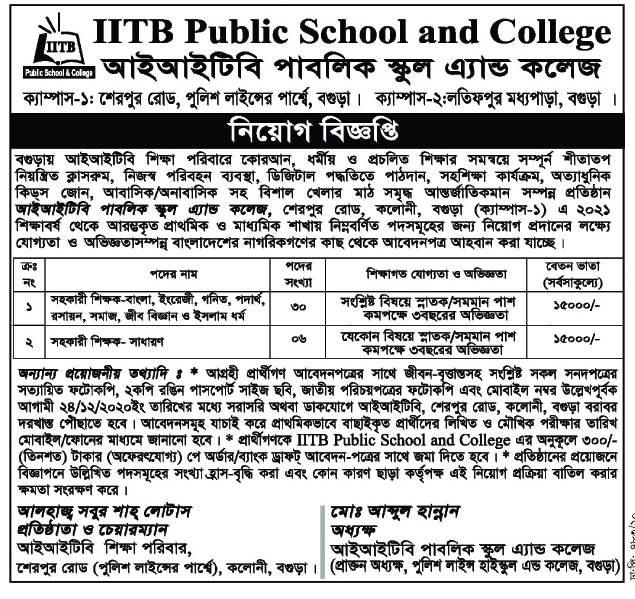 IITB Public School & college Job Circular 2020