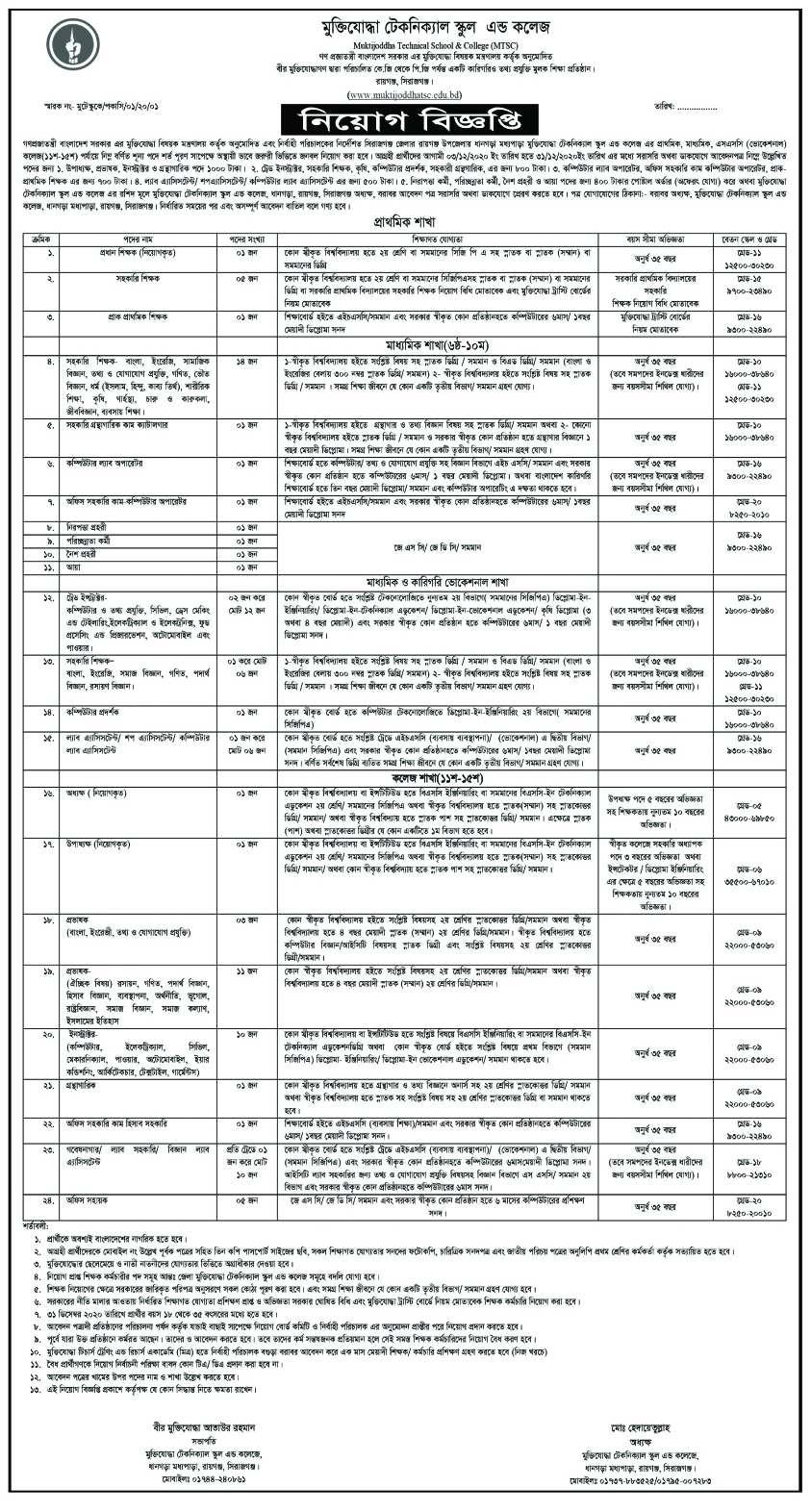 Muktijoddha TTC Job Circular 2020
