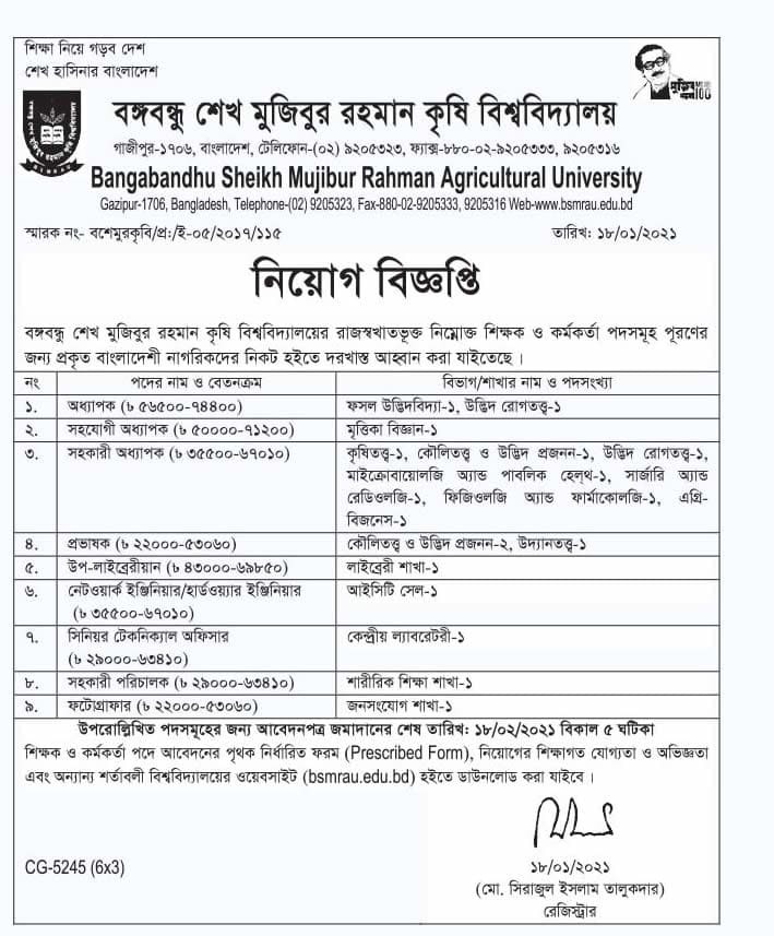 BSMRAU Job Circular 2021