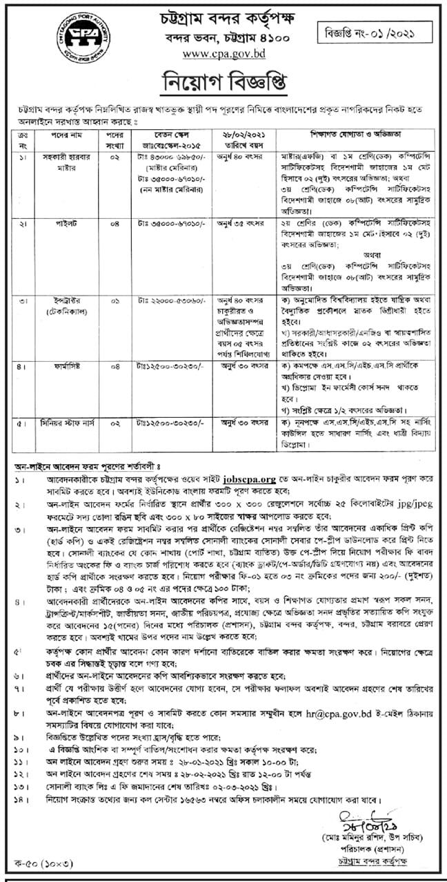 Chittagong Port Authority CPA Job Circular 2021