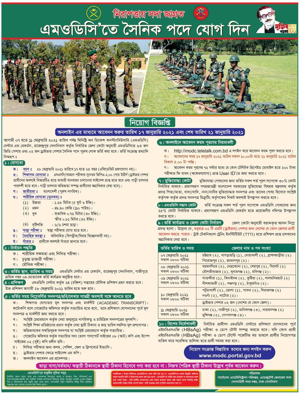 MODC Sainik Job Circular 2021