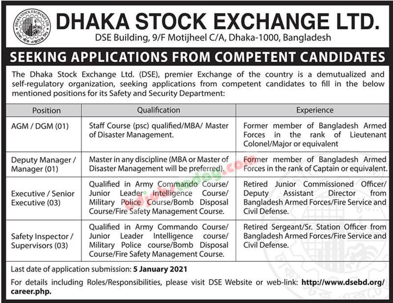 Dhaka Stock Exchange Limited DSE Job Circular 2021