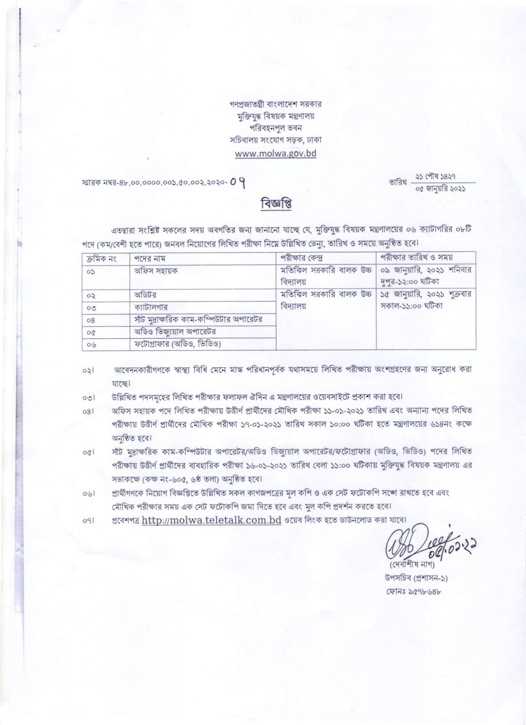 MOLWA Job Exam Date 2021