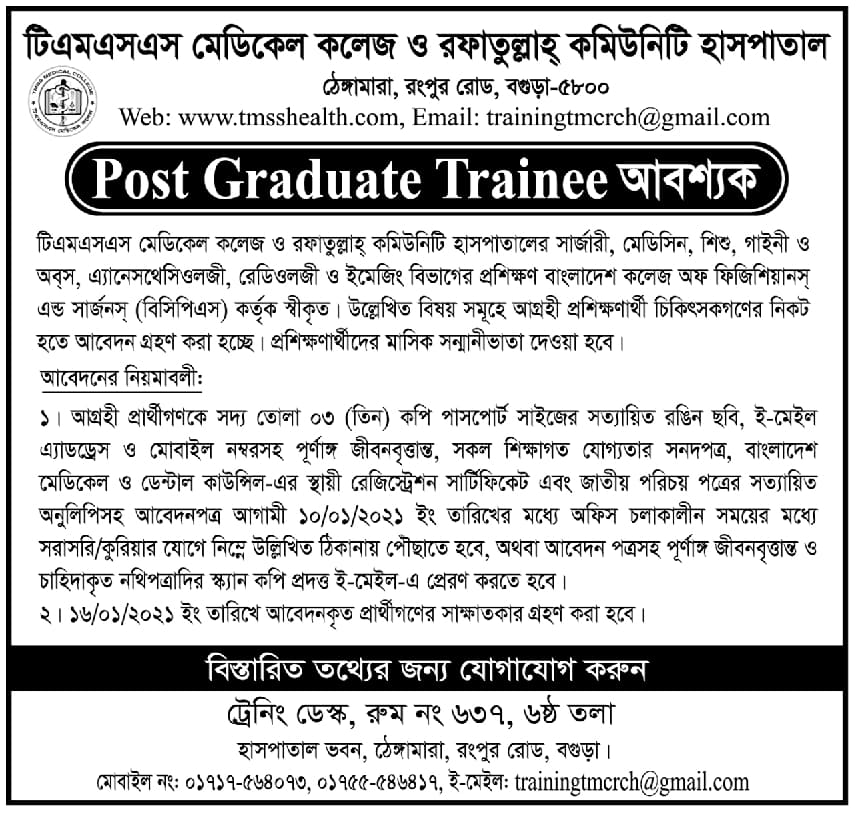 TMSS Medical College Job Circular