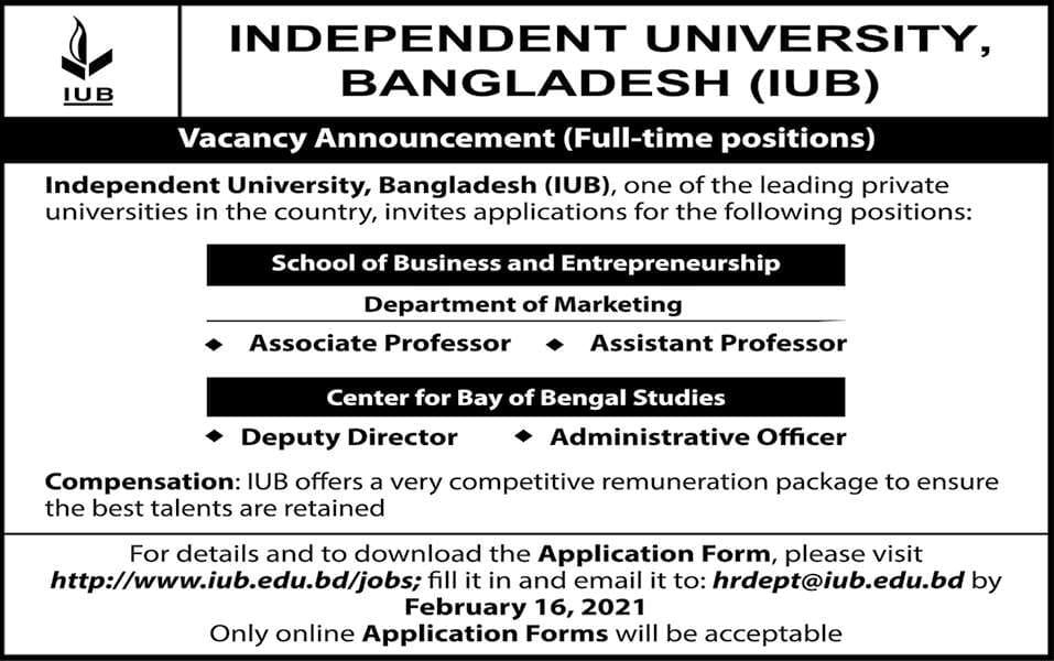 Independent University Bangladesh IUB Job Circular 2021