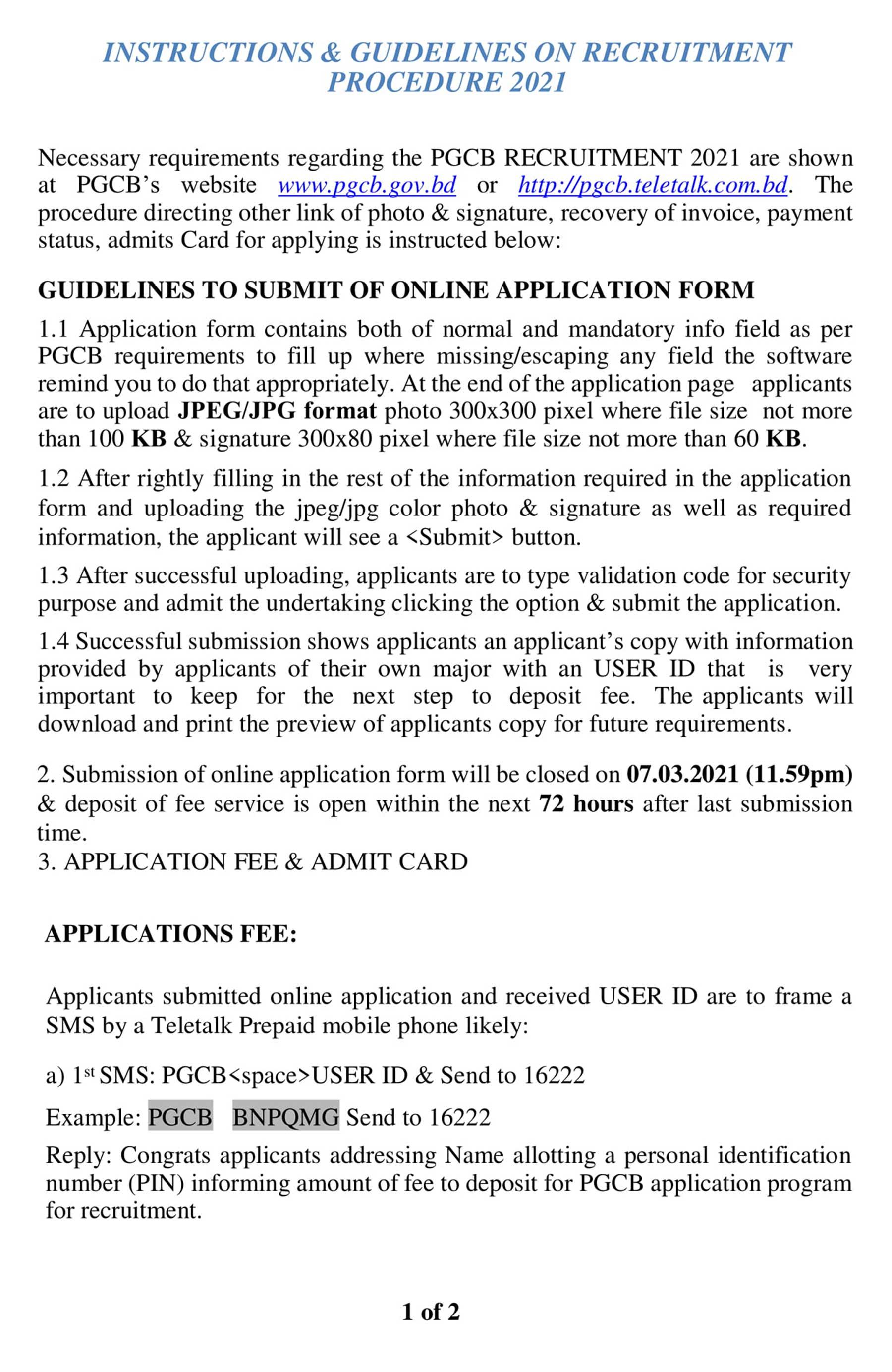 Power Grid Company Bangladesh PGCB Job Circular 2021