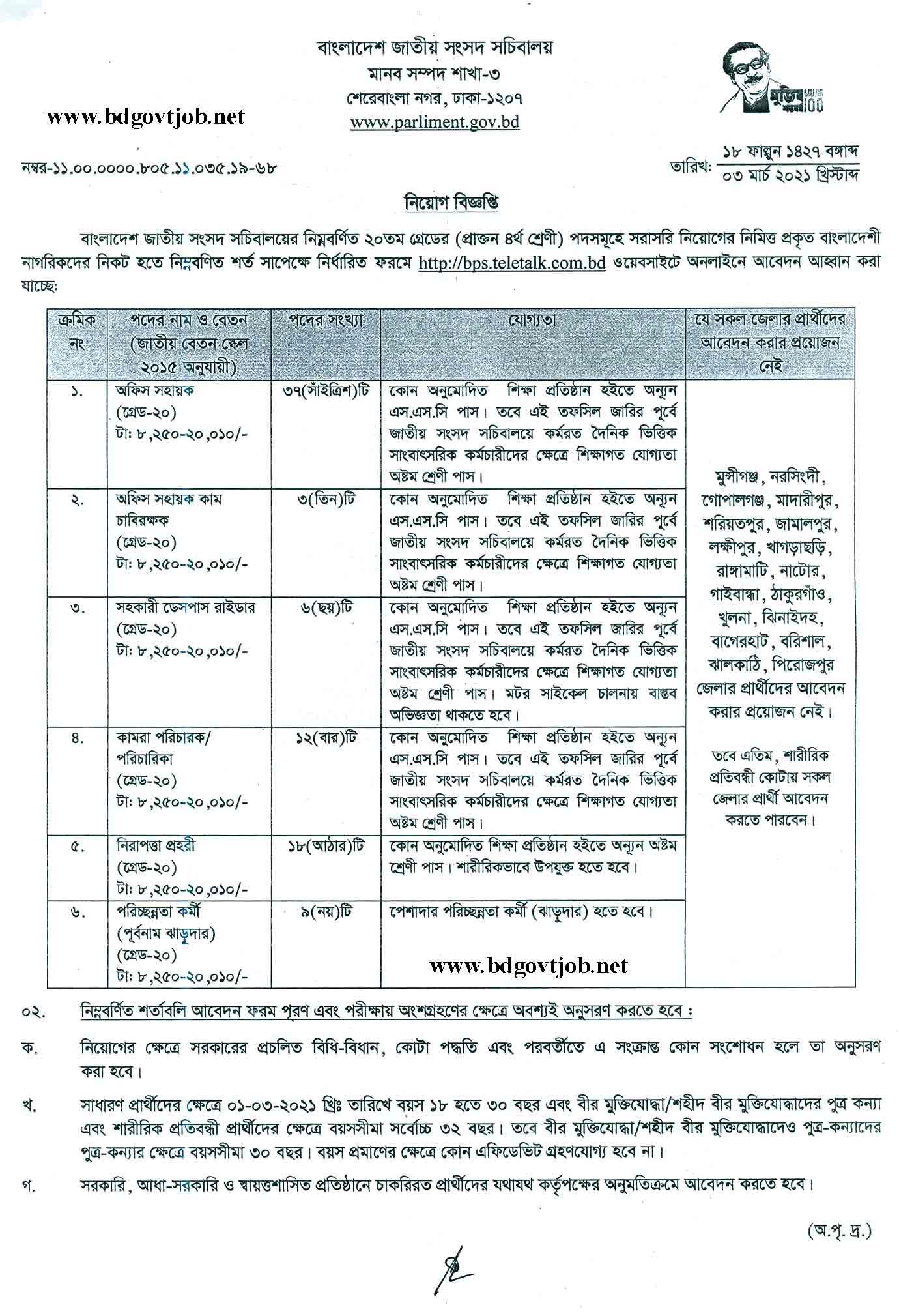 Bangladesh Parliament Job Circular 2021