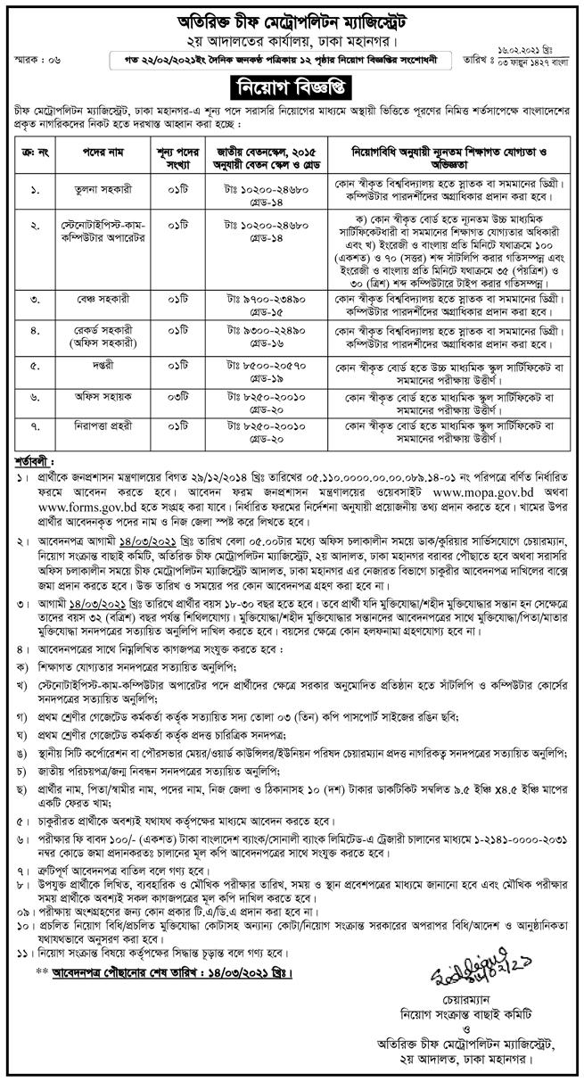 Dhaka Chief Metropolitan Magistrate Office Job Circular 2021