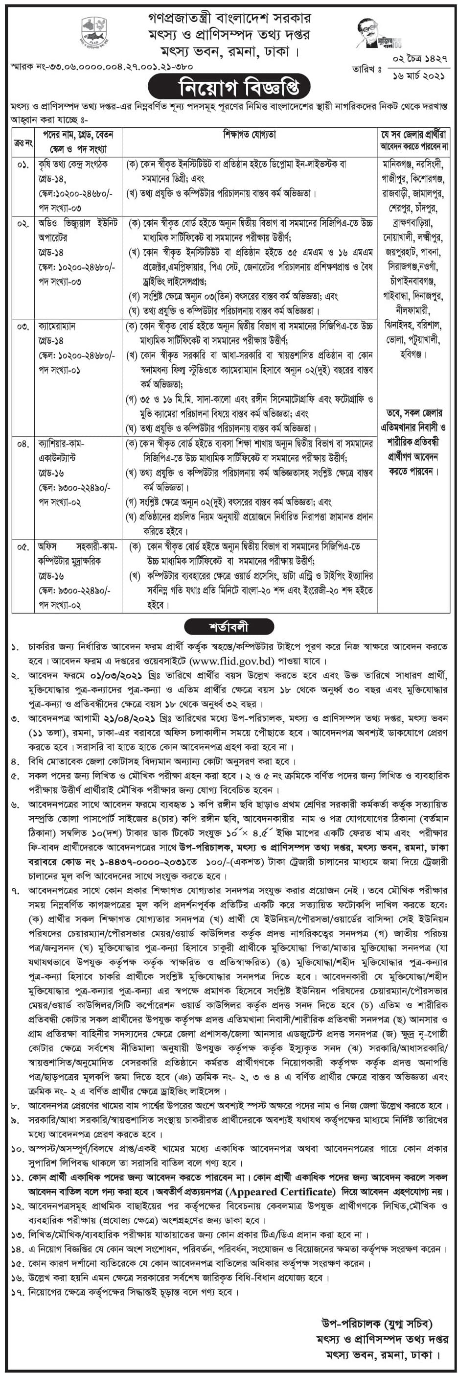 Fisheries and Livestock Information Department FLID Job Circular