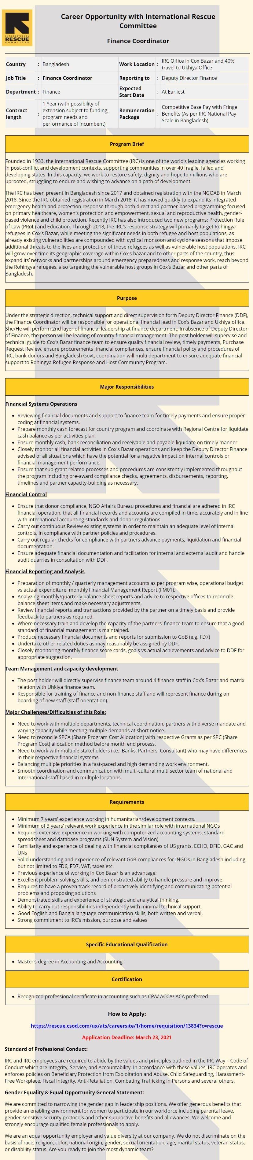 RIC Job Circular 2021