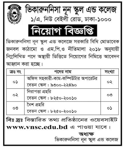 Viqarunnisa Noon School & College Job Circular 2021