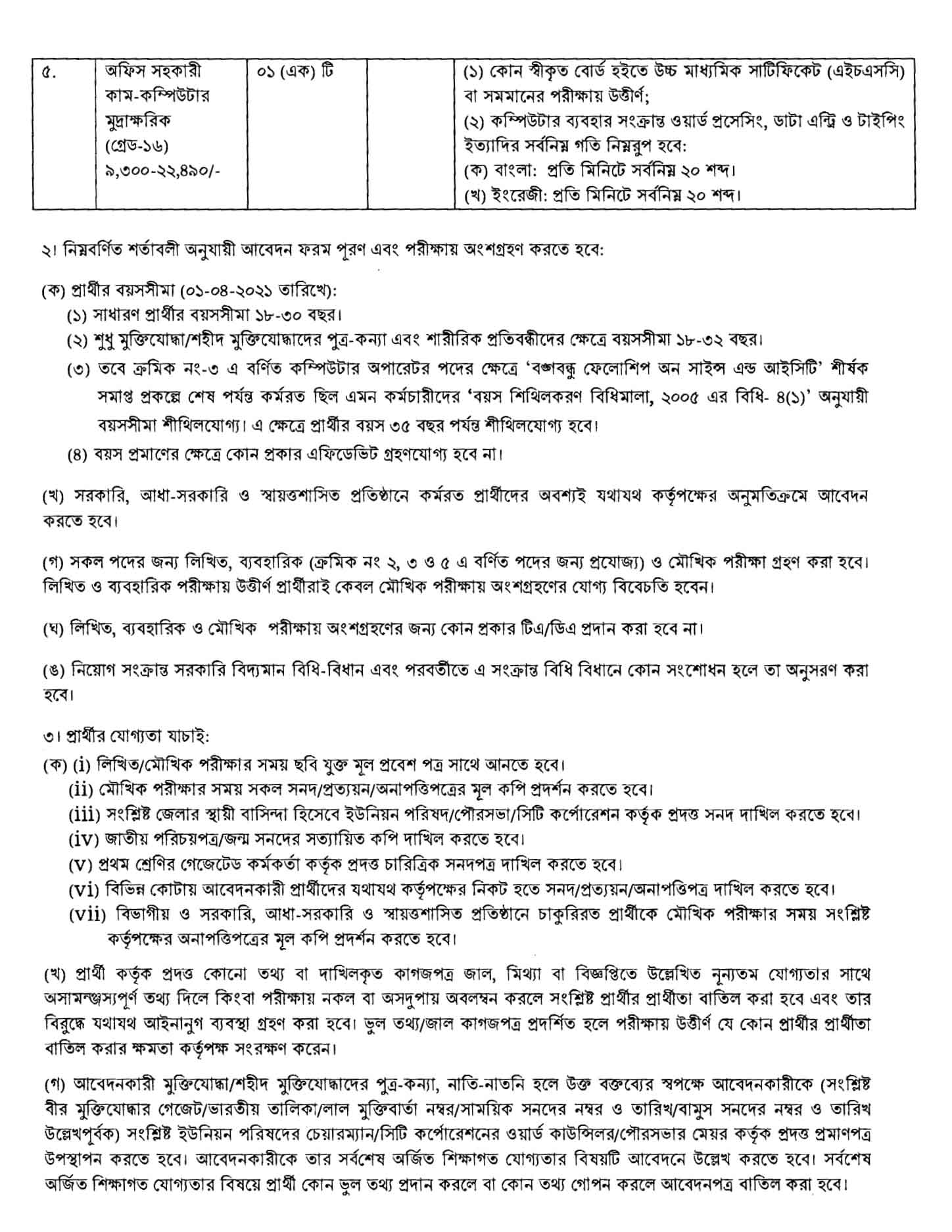 Ministry of Science and Technology Job Circular 2021