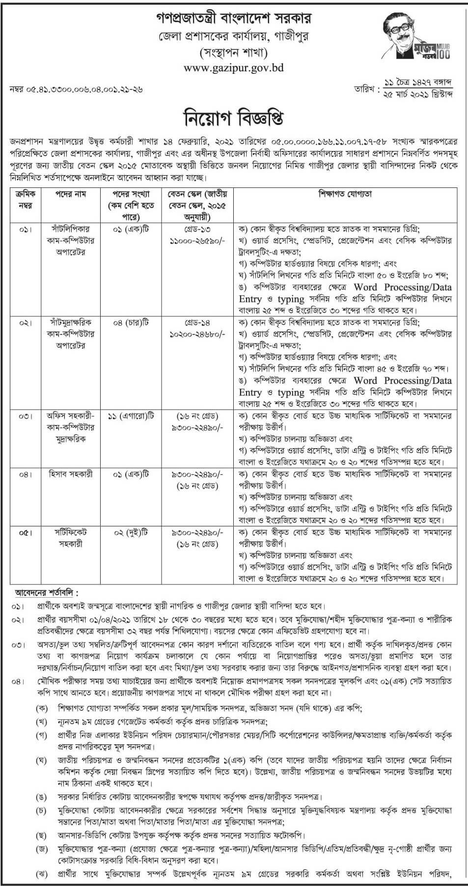 Gazipur DC Office Job Circular 2021
