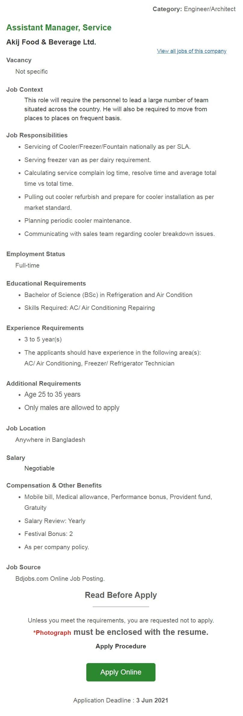 Akij Food and Beverage Job Circular 2021
