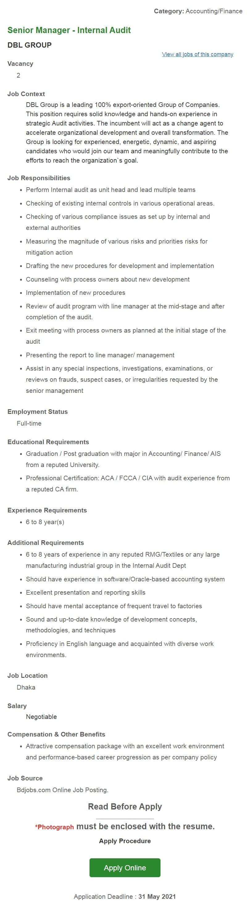 DBL GROUP Job Circular 2021