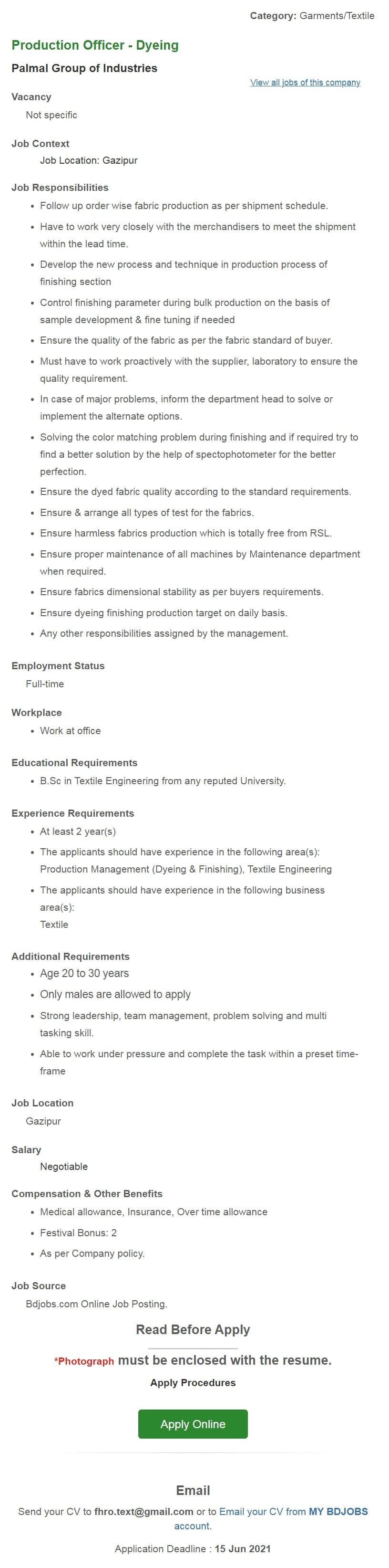 Palmal Group Job Circular