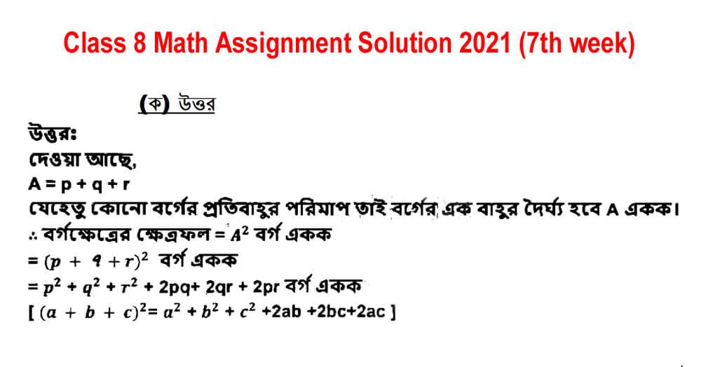 class 8 math assignment 7th week