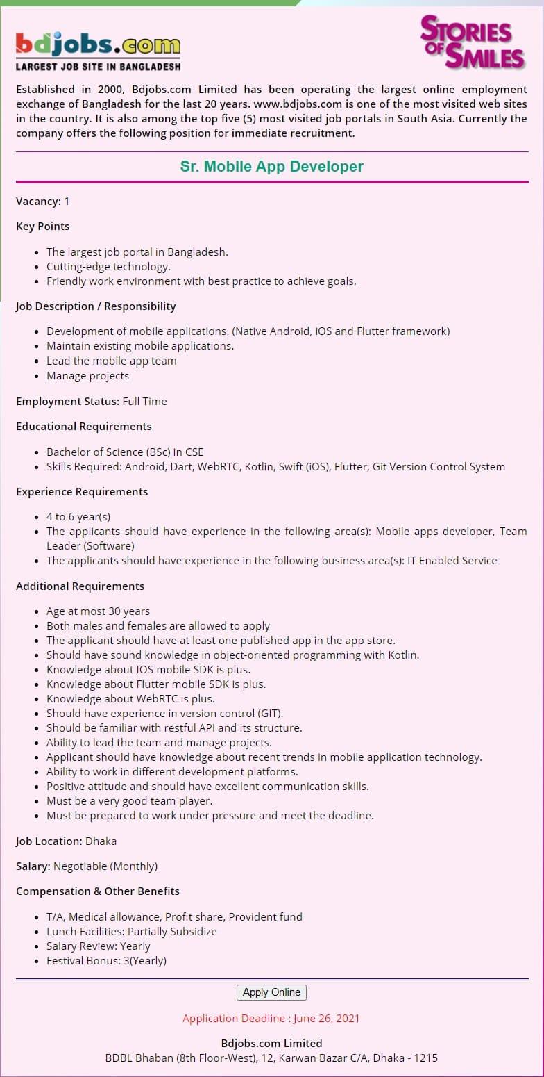 Bdjobs.com Limited Job Circular 2021