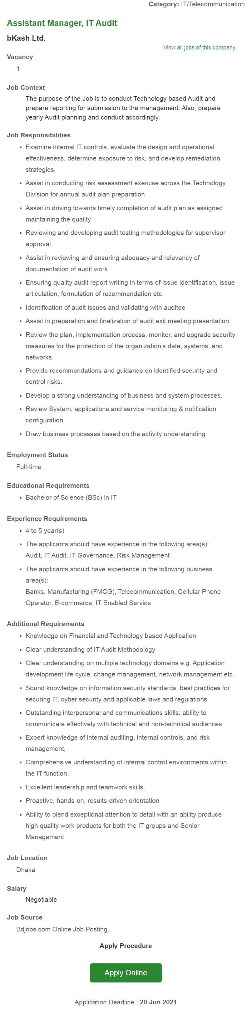 Bkash Ltd Job Circular 2021