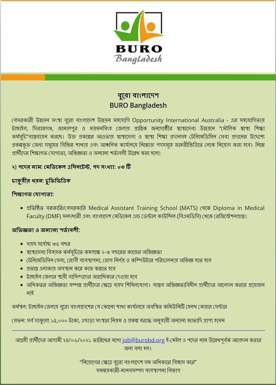 bangladesh BURO Job Circular 2021
