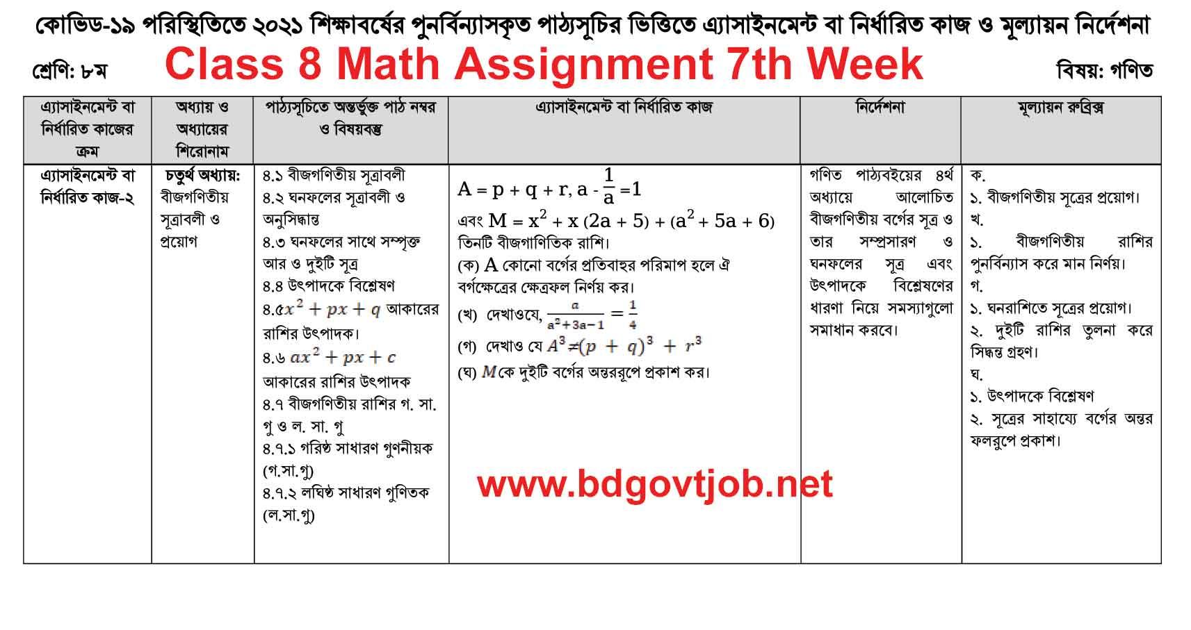 Class 8 Assignment Math 7th week
