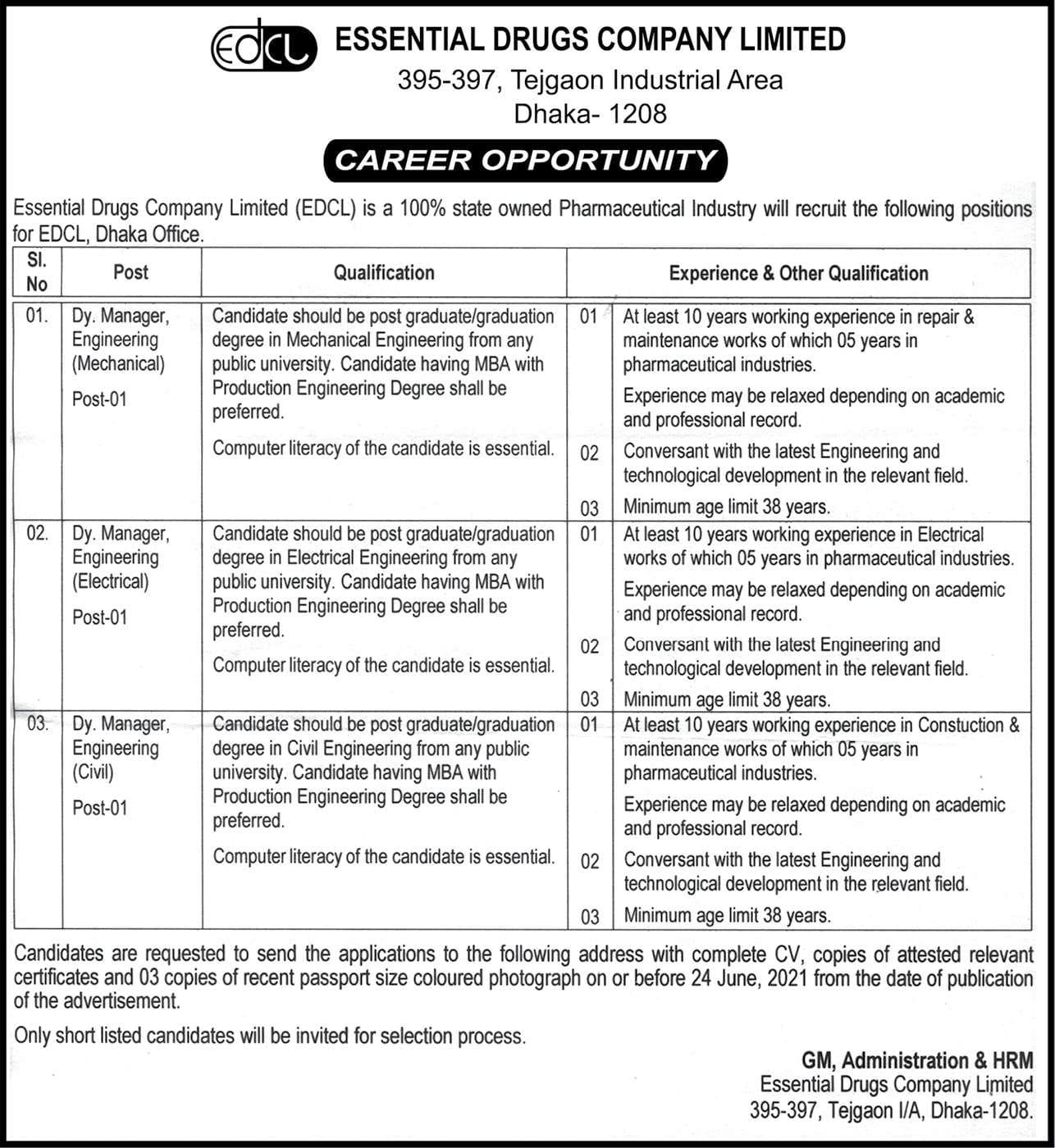 Essential Drugs Company Limited Job Circular 2021