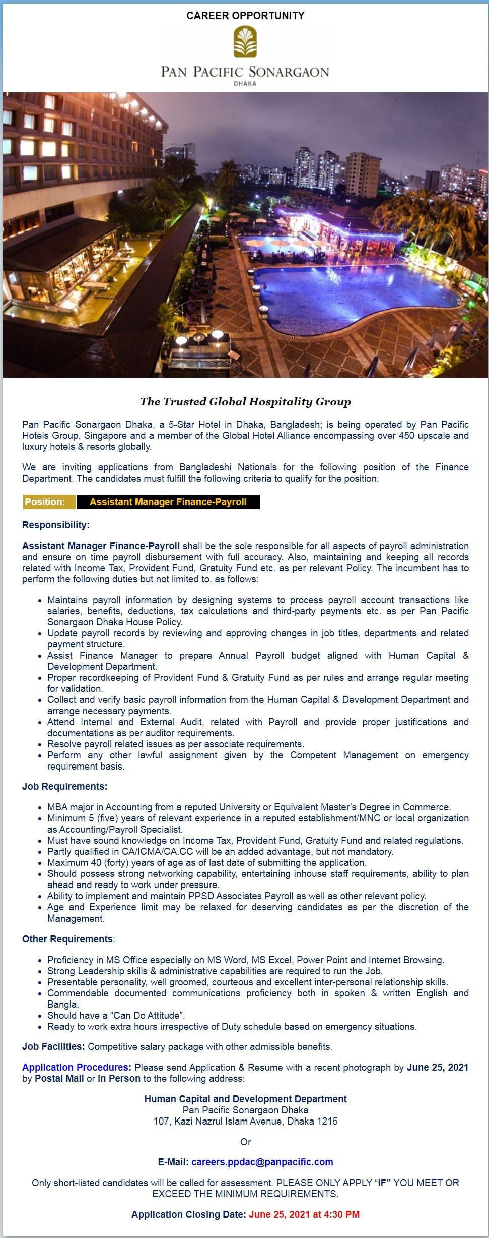 Pan Pacific Sonargaon Hotels and Resorts Job Circular 2021