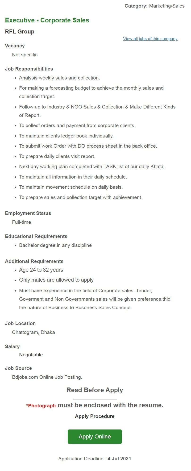 RFL Group Job Circular 2021