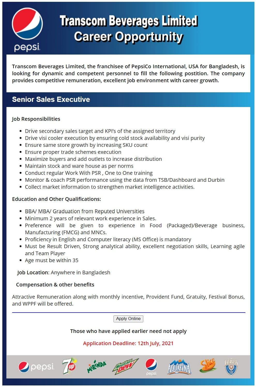 Transcom Beverages Limited Job Circular