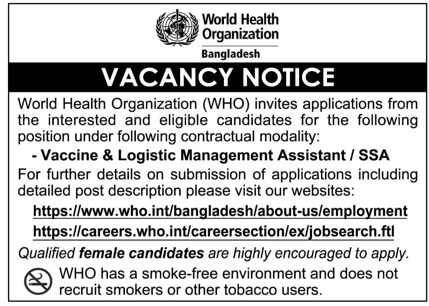 World Health Organization WHO Job Circular 2021