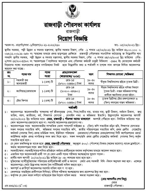 Rajbari Pourashava Job Circular 2021