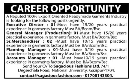 Sagacious Fashions Ltd job circular