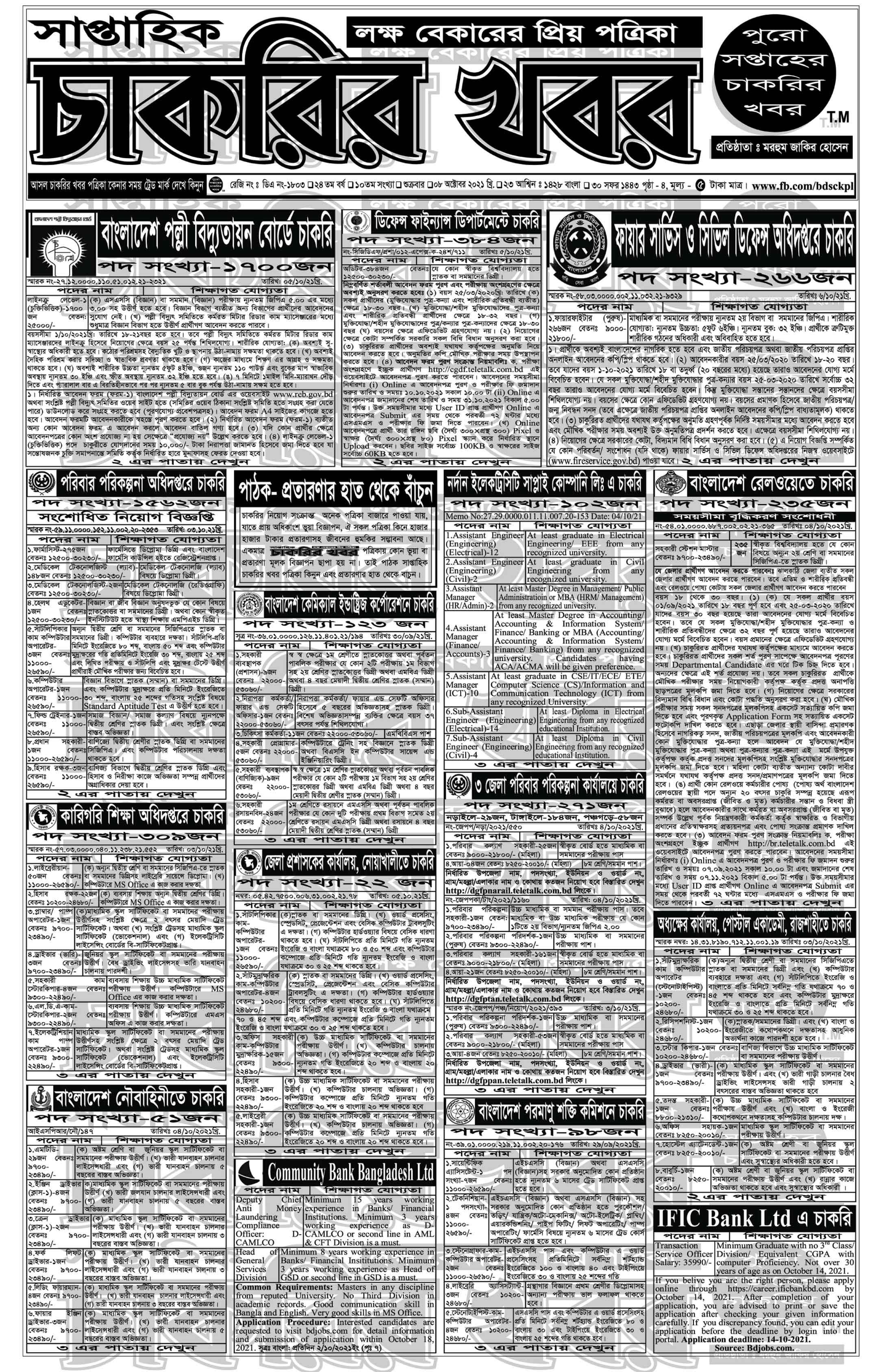 Saptahik Chakrir Khobor 08 October 2021 with PDF download