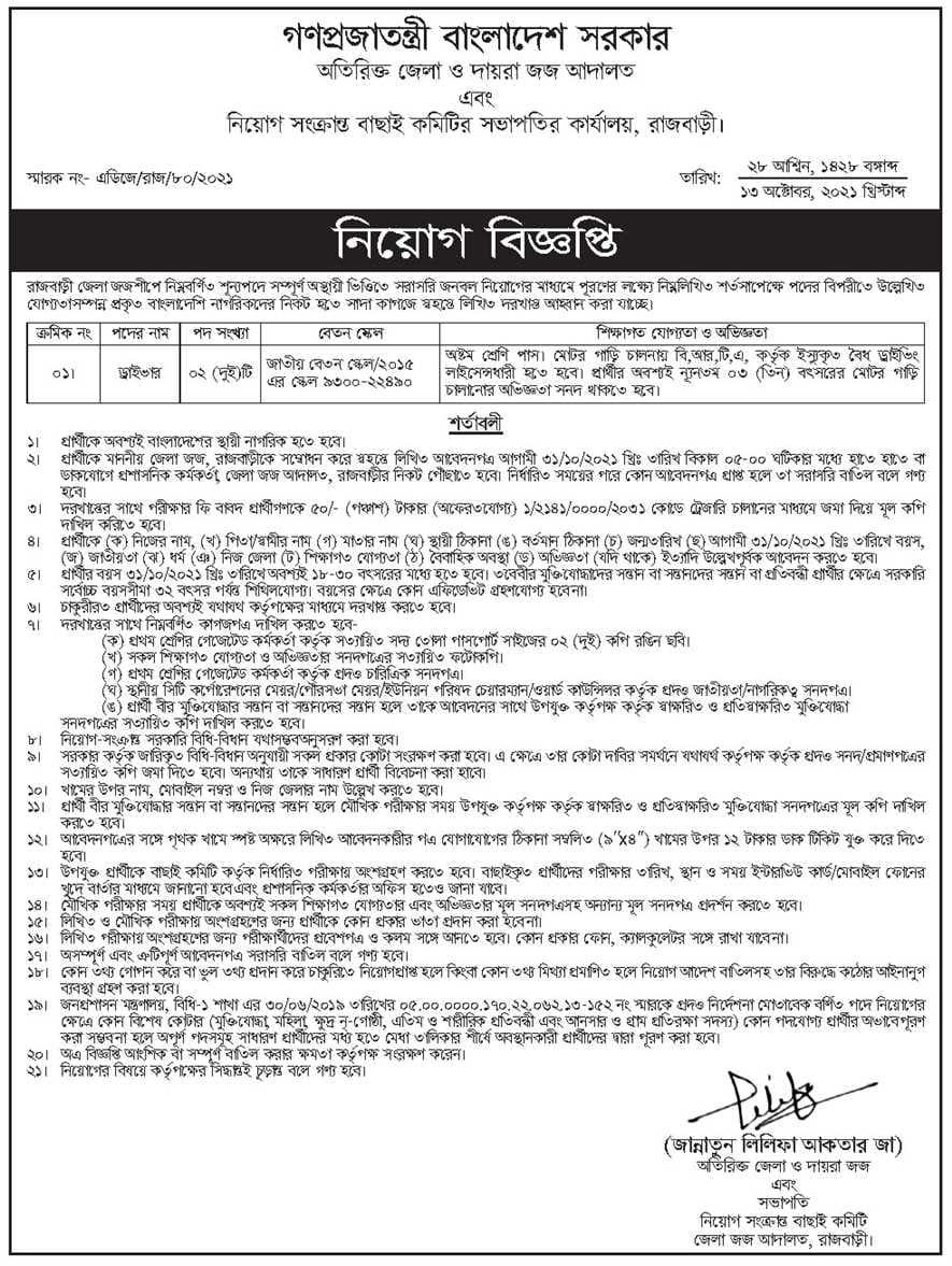 Additional District Judges Office Job Circular 2021