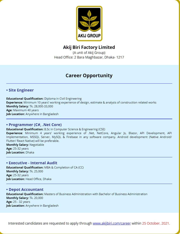 Akij Biri Factory Limited Job Circular 2021