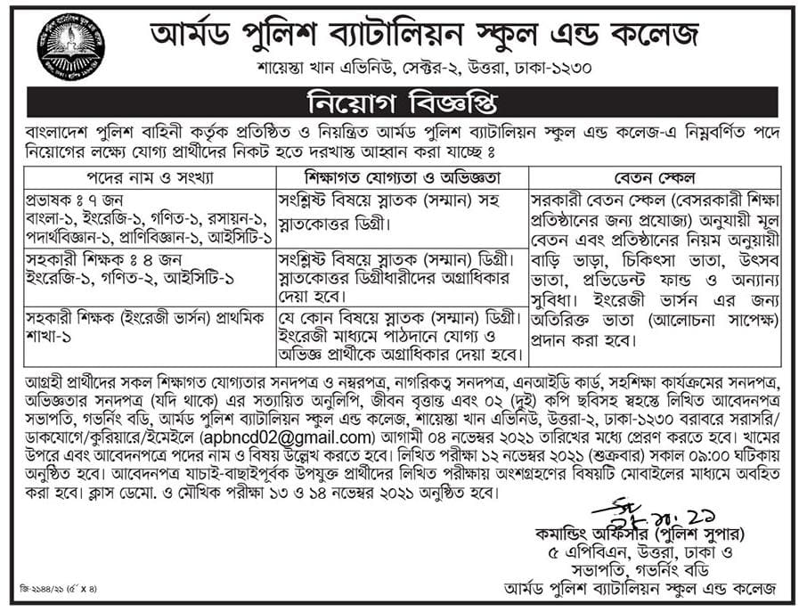 Armed Police Battalion School & College Job Circular 2021