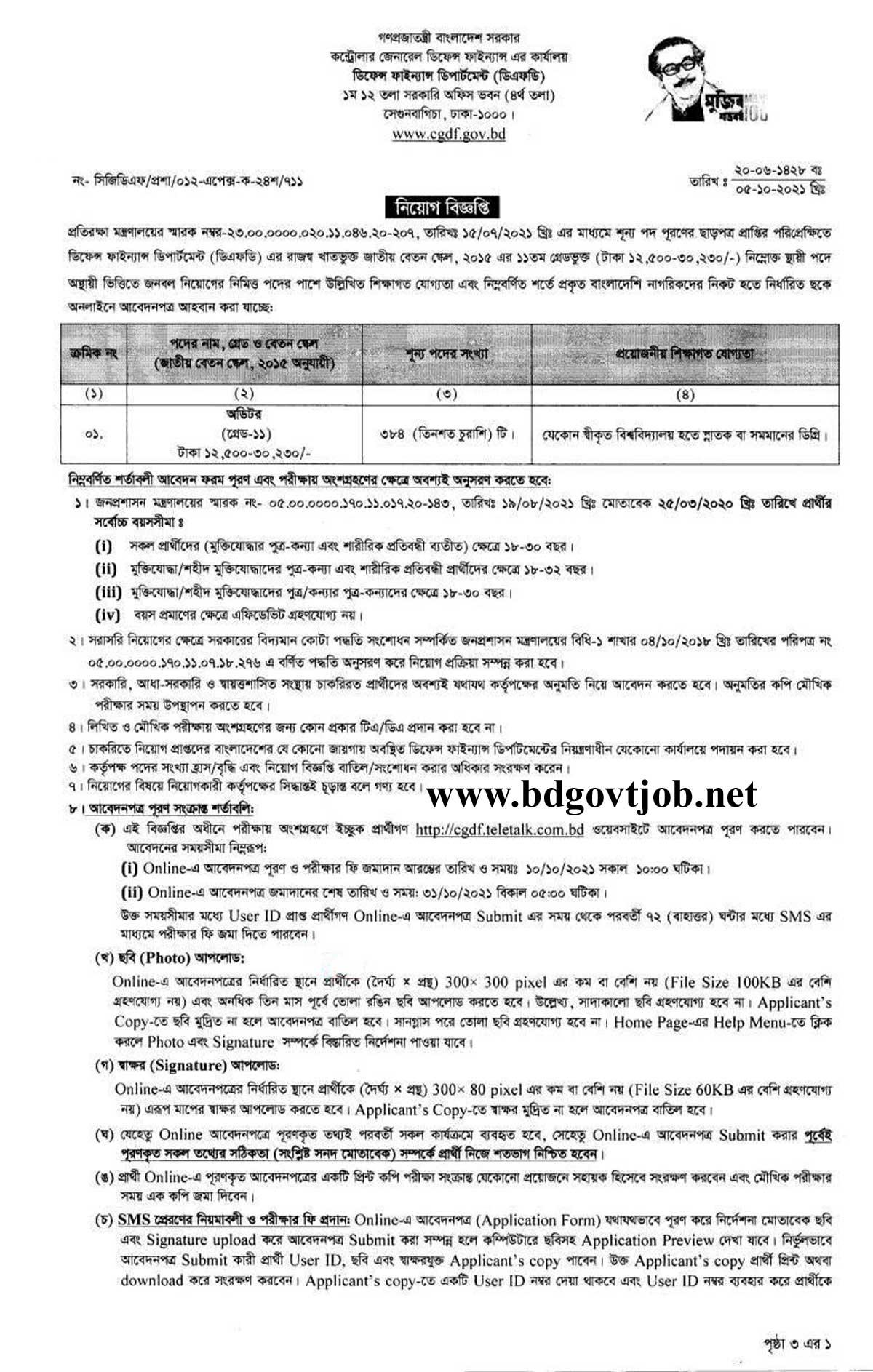CGDF Job Circular 2021