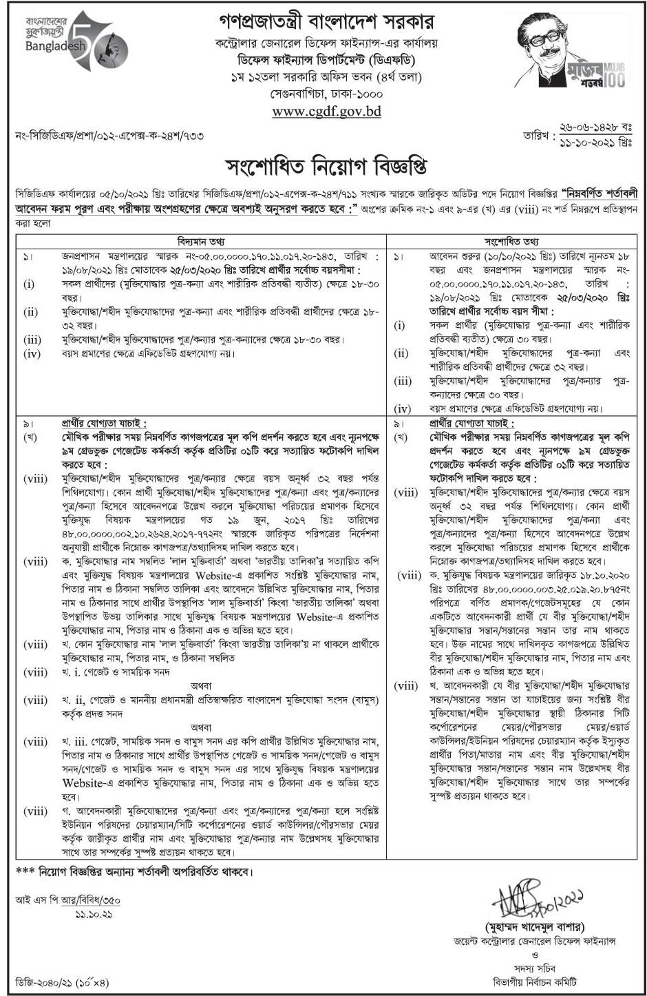 cgdf job circular notice 2021