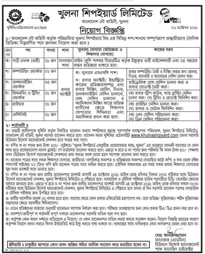 Khulna Shipyard Limited Job Circular 2021