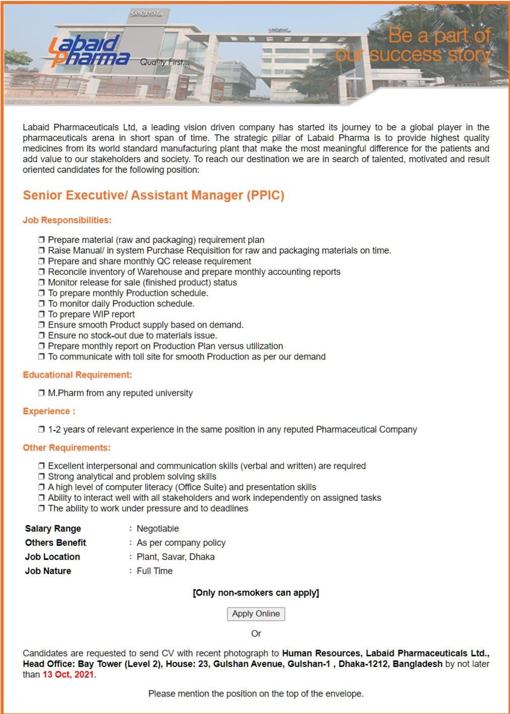 Labaid Pharmaceuticals Job Circular 2021