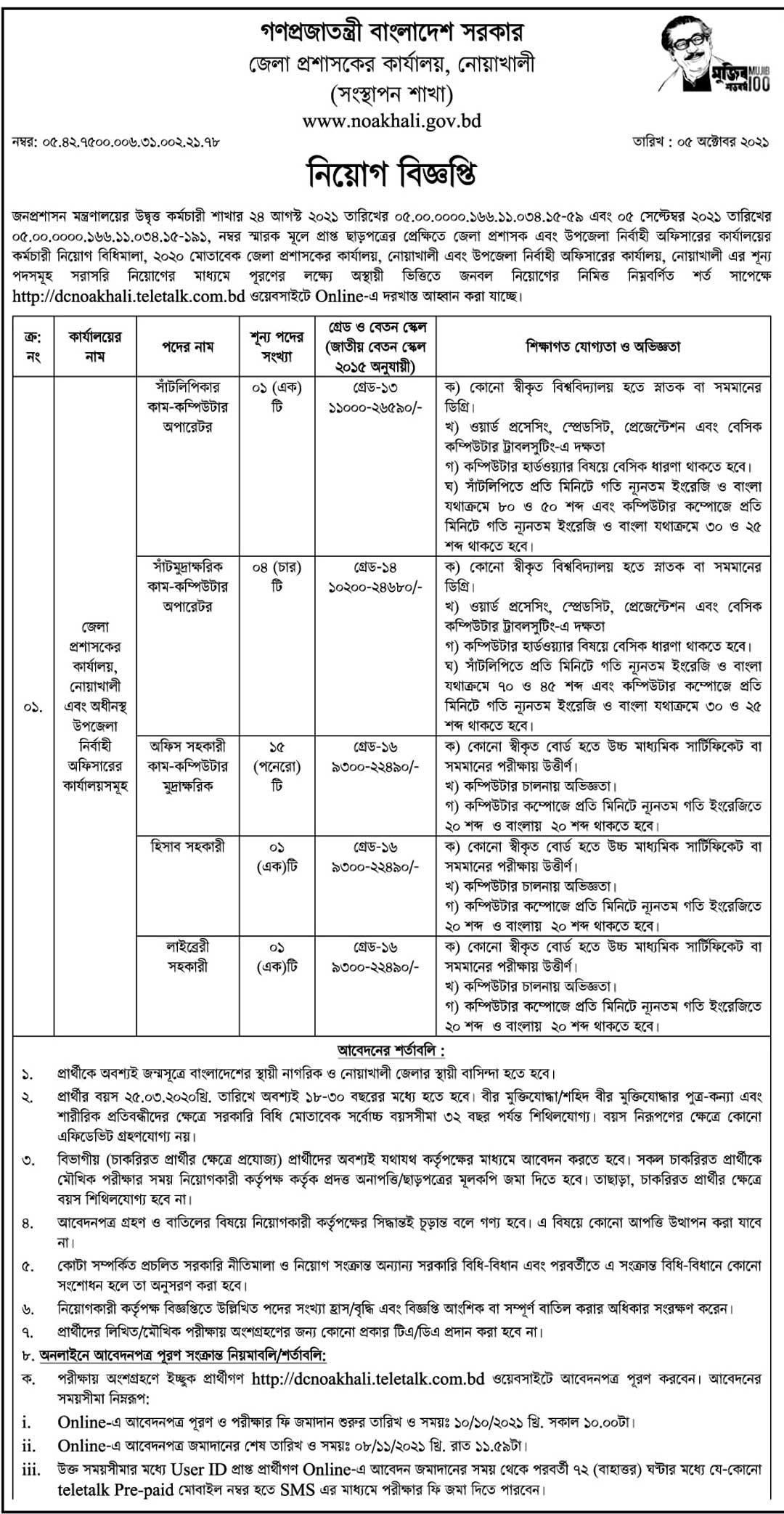 DC Noakhali Job Circular 2021 - dcnoakhali.teletalk.com.bd