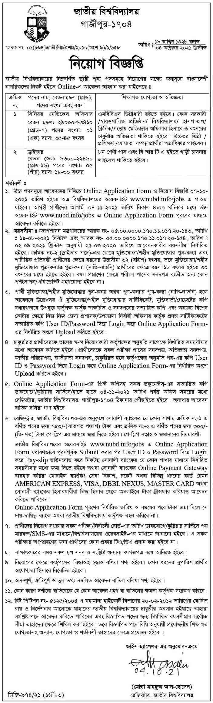 National University NU Job Circular 2021