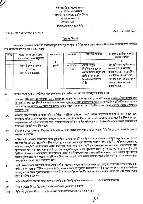 Railway Assistant Station Master Job Circular 2021