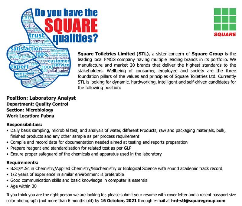 Square Toiletries Ltd Job Circular 2021
